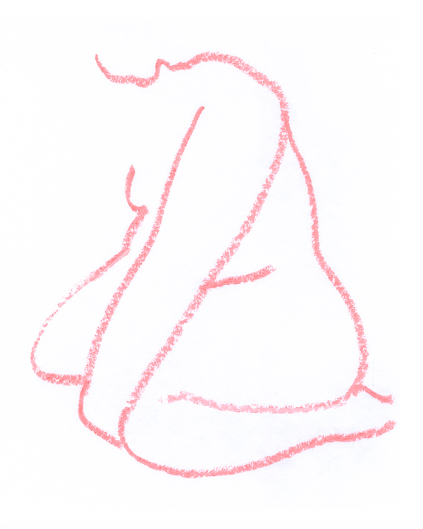 Outline of a woman sitting forward on her knees, in pink on white background.