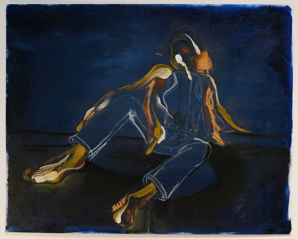 Dark palette, figure sits with knees in air, facing the viewer.