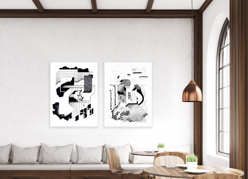 """Silent Spaces"" (Black lines and abstract forms on white background), hung in home."