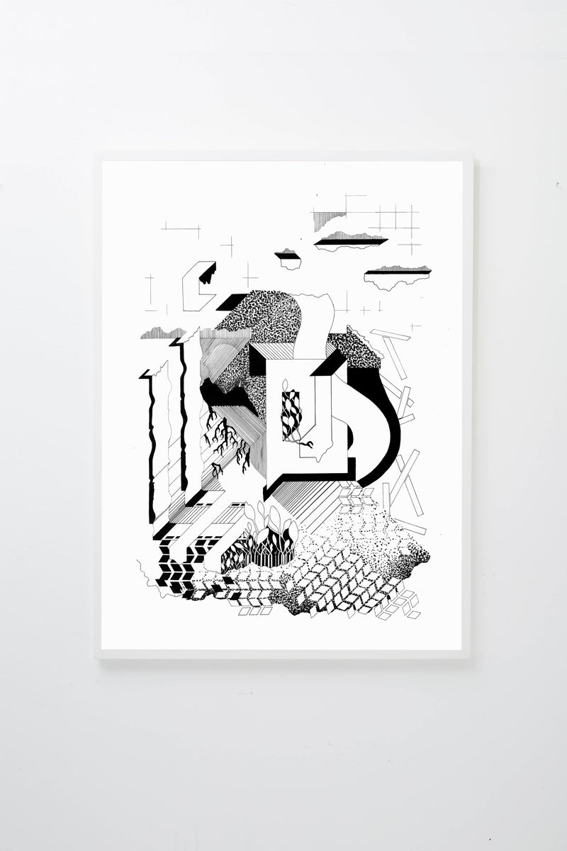 """Silent Spaces"" (Black lines and abstract forms on white background), framed."