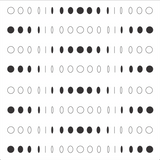 8 rows of black and white circles of various perspectives.