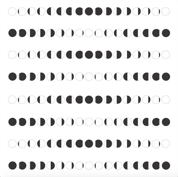 8 rows of black circles, some filled in entirely, some partially filled in.