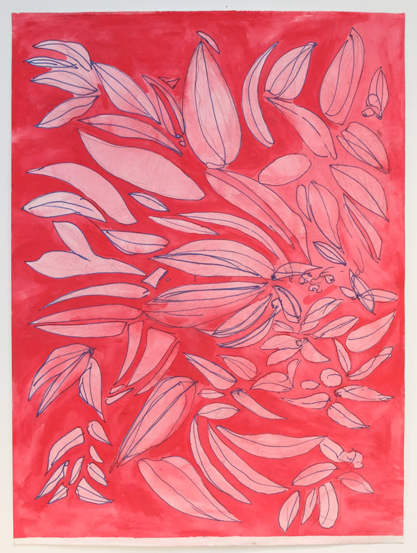 Light pink leaves and flower petals on bright pink background.