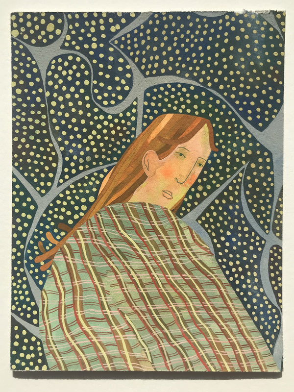 Figure looks over shoulder, clad in plaid against dotted background. Cool palette of blues and greens.
