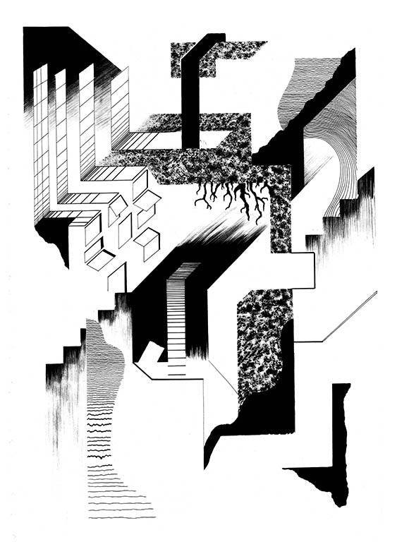 Black lines on white paper create abstract illusion of space, ie. staircases, tunnels, walls.
