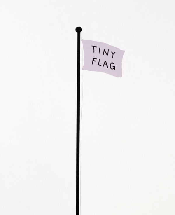 "Purple flag on black pole with text reading ""TING FLAG""."