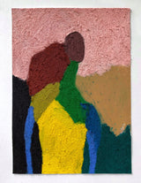 Abstract colour block figure in yellow, pink, blue, red, and green.