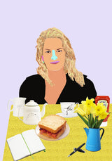 Colourful portrait of Tracey Emin at table with flowers, sandwich, tea, and ketchup.