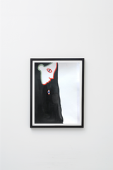 """Untitled (black)"" framed, hung on wall."