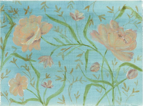 Light pink roses and green vine pattern on blue background.