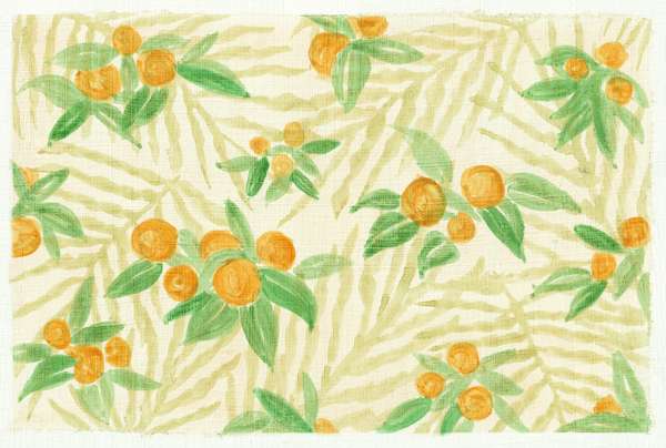 Orange clementines with green leaves on light ivory-coloured background.