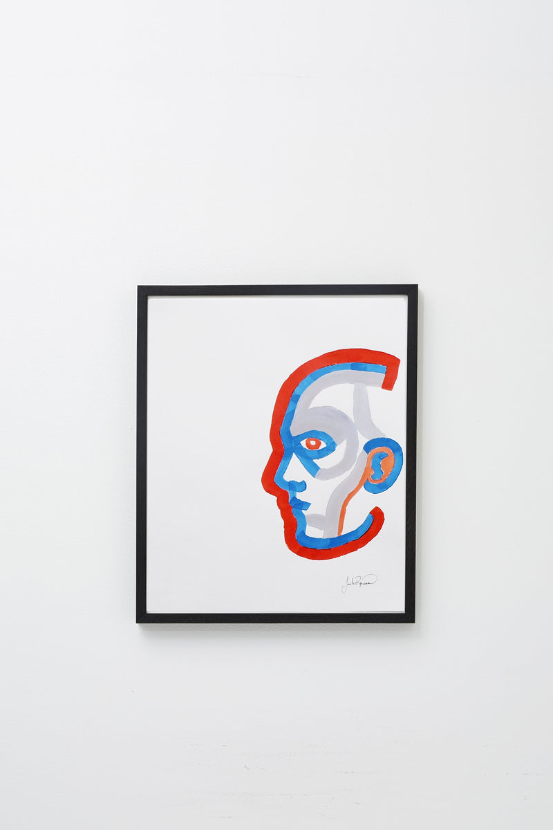 """Untitled (deep orange/blue)"" framed, hung on wall."