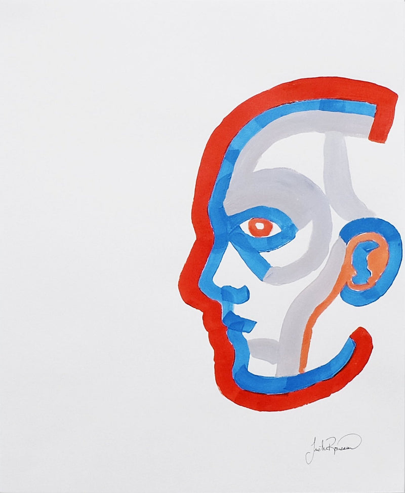 Profile of figure's head outlined in red, blue, orange.