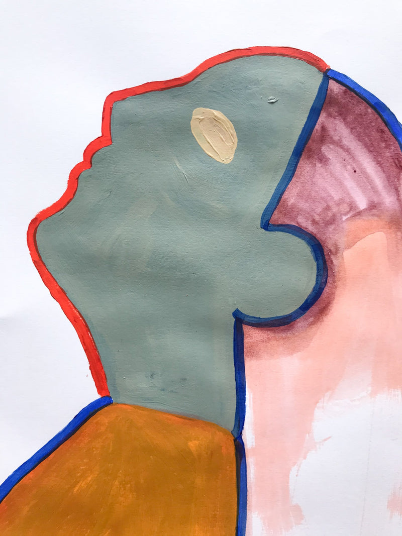 Profile of figure with green face leaning back, outlined in blue and red.