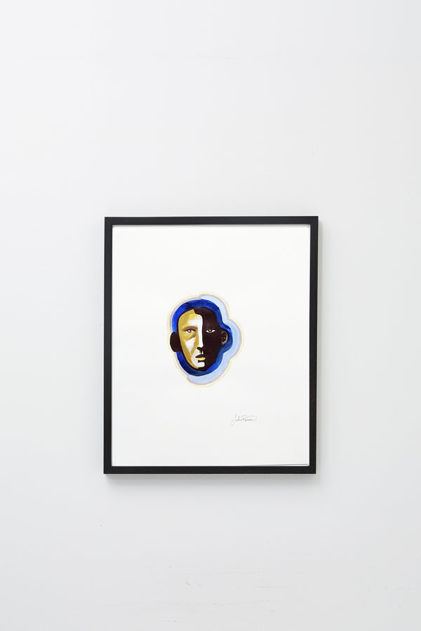 """Untitled (indigo man)"" framed, hung on wall."