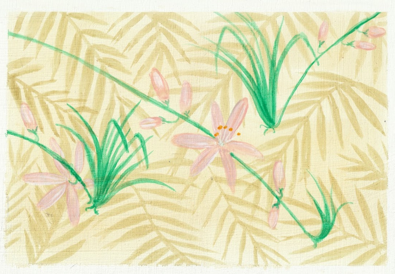 Pink lilies and greenery on light yellow background.