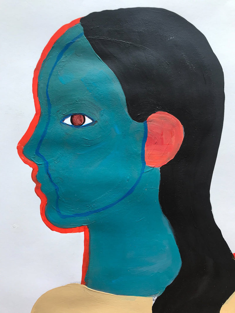 Profile of head with turquoise and coral skin, black hair.