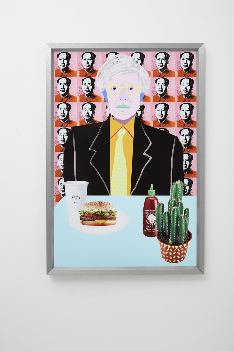 """Warhol Burger. So Hot Right Mao"" framed, hung on wall."