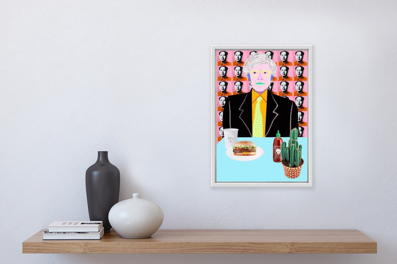 """Warhol Burger. So Hot Right Mao"" framed, hung in home."