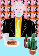 Vibrant portrait of Andy Warhol sitting at a table with burger, cup, sriracha bottle, and cactus.
