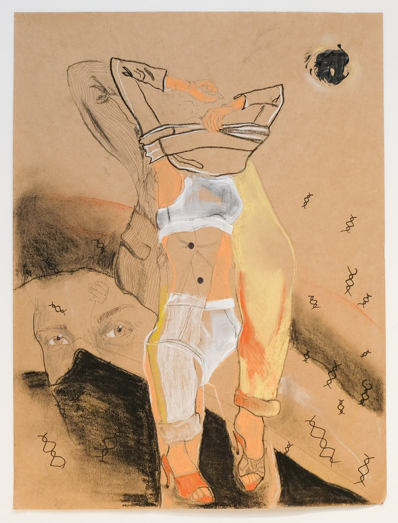 Fragmented figure undresses, another figure looks on. Neutral palette, brown paper.