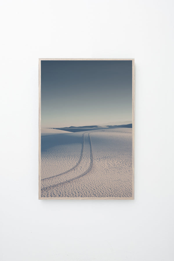 """White Sands"" framed, hung on wall."