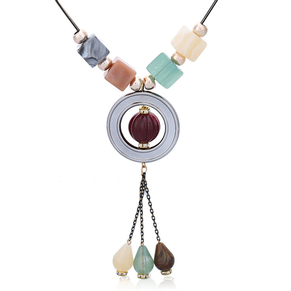 Multicolor Women Maxi Long Pendant Necklaces - [neshe.in]
