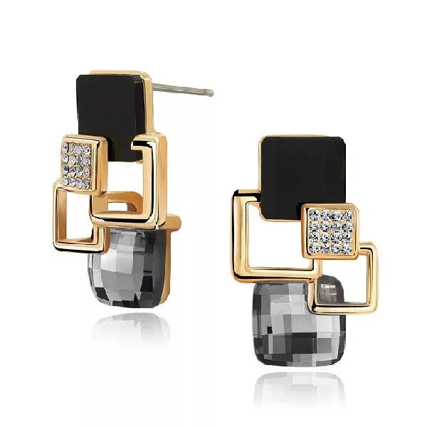 Square Geometric Crystal Stud Earrings in 2 Colors - [neshe.in]