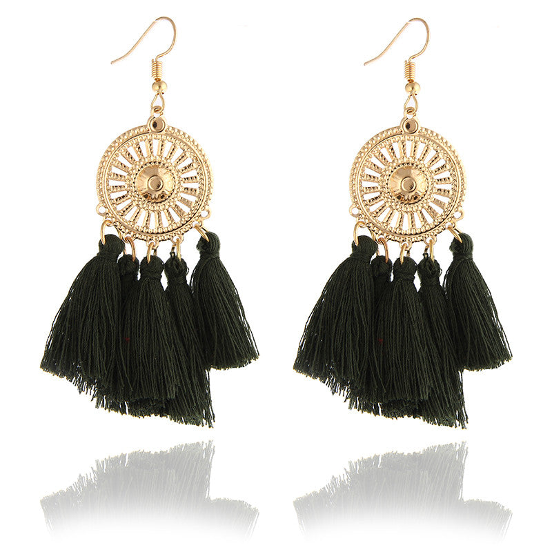 Big Tassel Earrings Bohemian Style - 3 Colors - Red - Balck - Multi - [neshe.in]