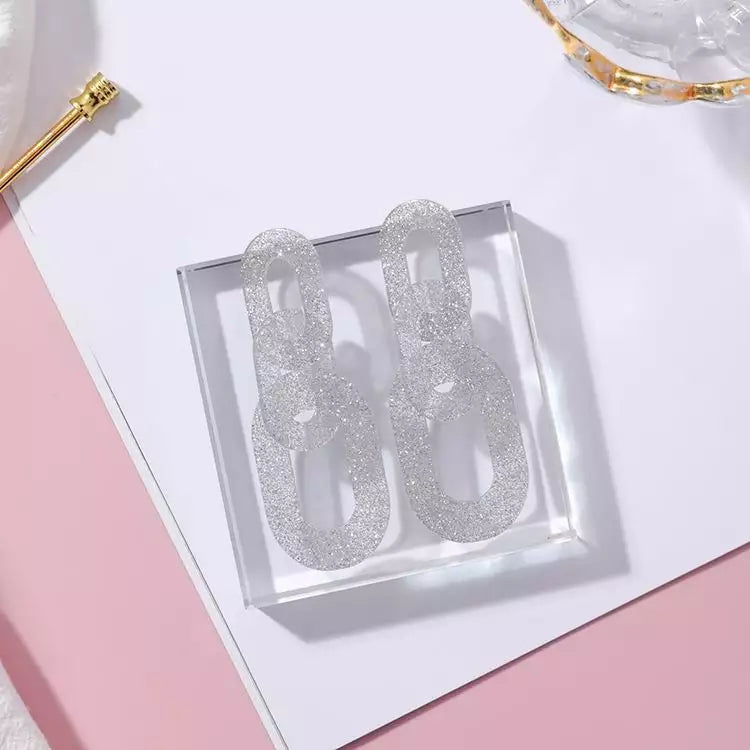 Linked Chain Shimmery Acrylic Party Styled Earring - 3 Colors