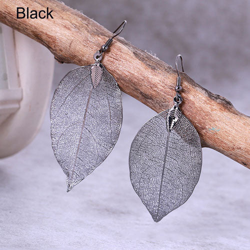 Natural Leaf Shape Drop Earrings - 4 Colors - [neshe.in]