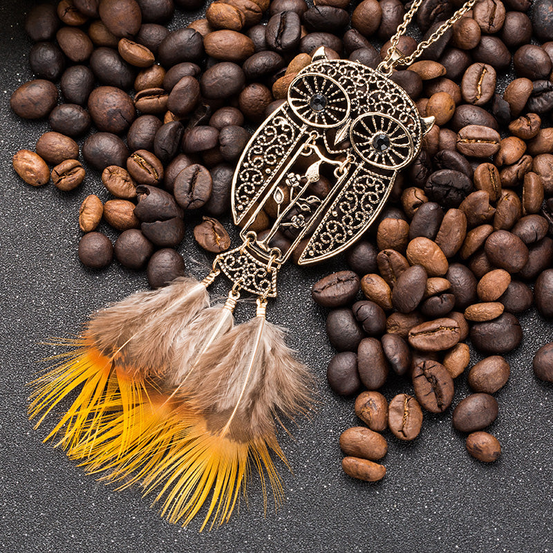 Vintage Ethnic Rhinestone Natural Feather Owl Long Necklace - NN - [neshe.in]
