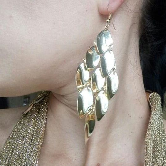Multi layer Water Drop Gold Dangle Earrings - [neshe.in]