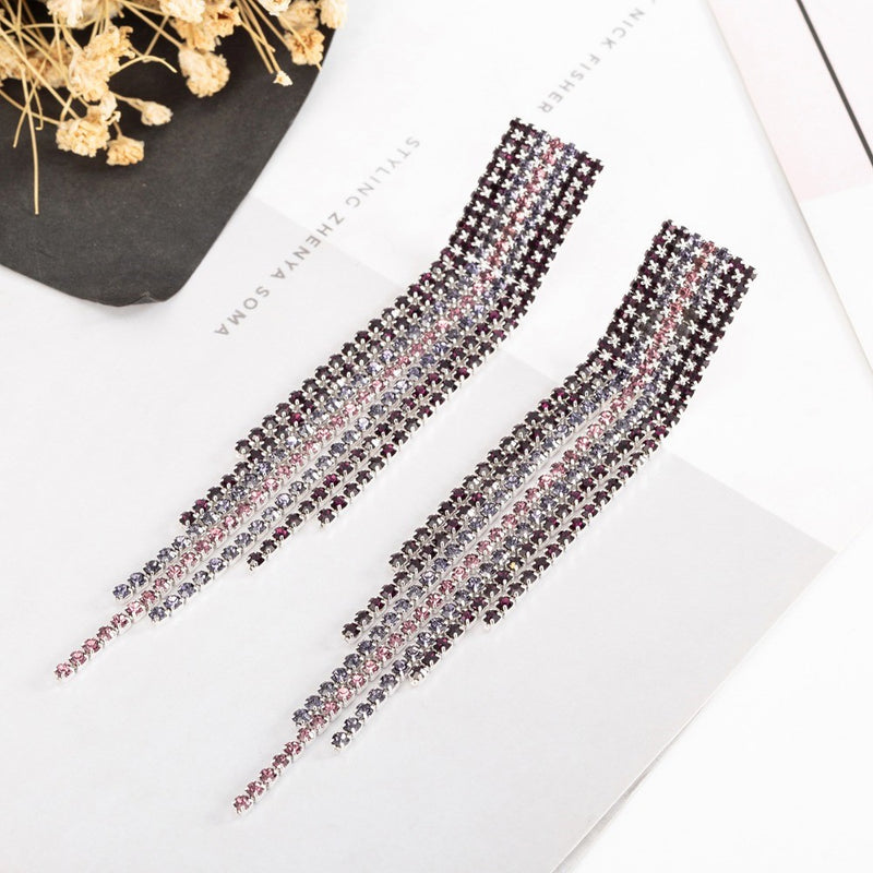 Crystal Rhinestone Long Tassel Party Earrings - 5 Styles