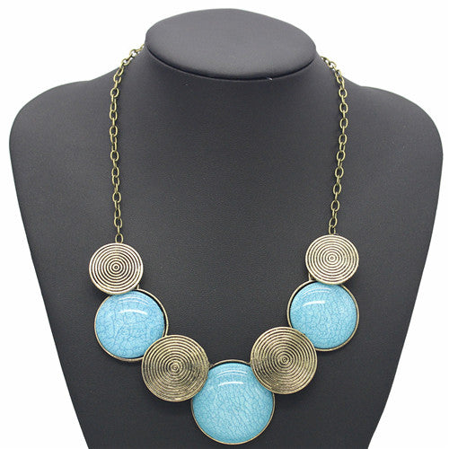 Fashion Geometric Thread Maxi Necklace - 2 Bright Colors (Blue & Green) - [neshe.in]