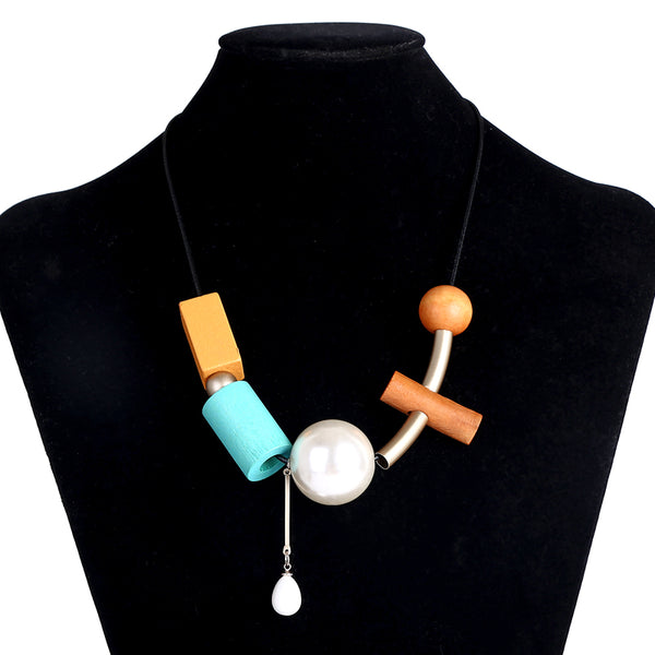 Ethnic Colorful Wood Geometric Ball Collar Necklace - [neshe.in]