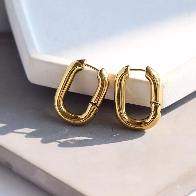 Trendy Korean Hoop Earring with Gold Plating