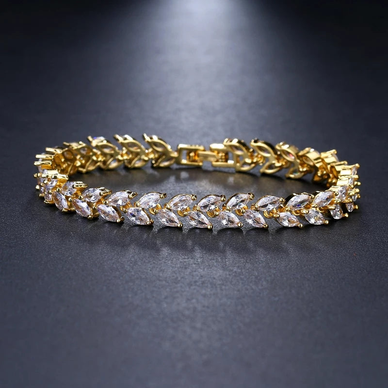 Elegant AAA CZ Crystal Leaves Bracelet - 3 Colors