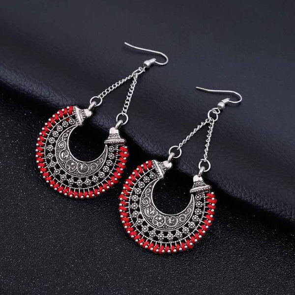 Boho Long Drop Vintage Hoop Earrings - 4 Colors - [neshe.in]
