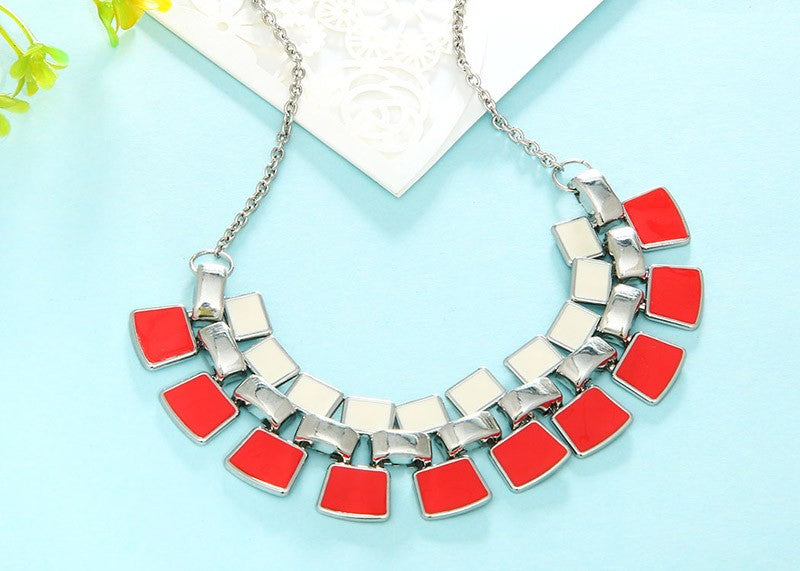 Red-White Enamel Maxi Choker Necklace - [neshe.in]