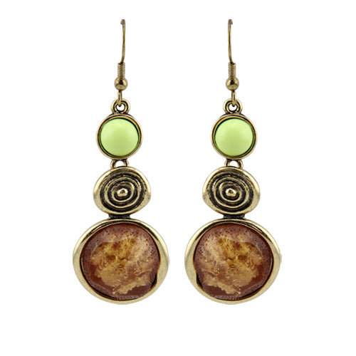 Vintage Copper  Resin Charms Drop Earrings - 3 Trendy Color Combinations - [neshe.in]