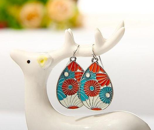 Enamel Trendy Water Drop Fashion Earrings - 4 Vibrant Colors - [neshe.in]