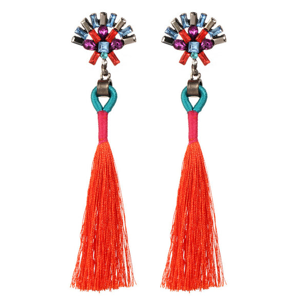 Sector Shape Crystal Tassel Drop Earrings - 7 Colors - [neshe.in]