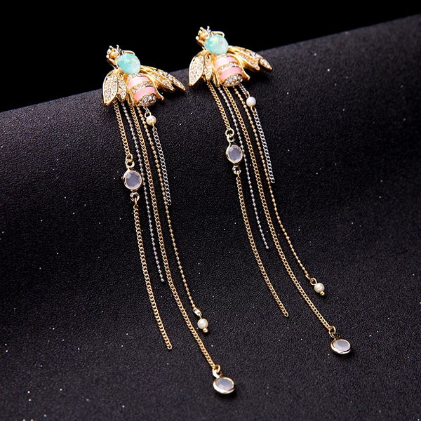 Pink Crystal Insect Bee Tassel Dangle Long Earring - [neshe.in]