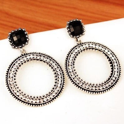 Silver Crystal Drop Hoop Earring