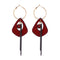 Ethnic Style Wood Acrylic Big Drop Tassel Geometry Earring - [neshe.in]