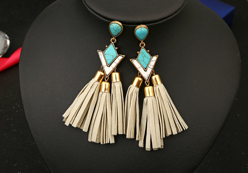 Acrylic Long Leather Tassels Drop Earrings - [neshe.in]