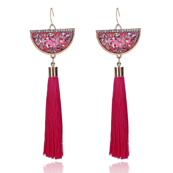 Bohemian Ethnic Colourful Natural Stone Long Tassel Earrings - 6 Scintillating Colors - [neshe.in]