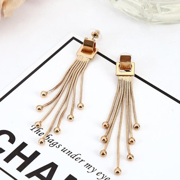 Gold Color Square Long Tassel Dangle Earring - [neshe.in]