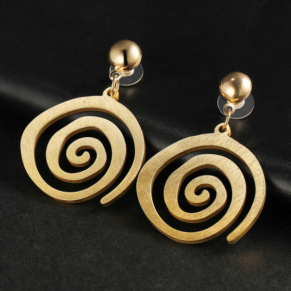 Golden Spiral Dangle Drop Earrings